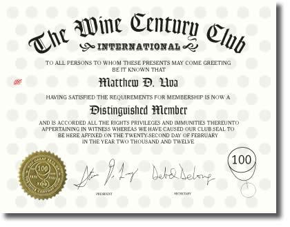 Wine Century Club Membership Certificate